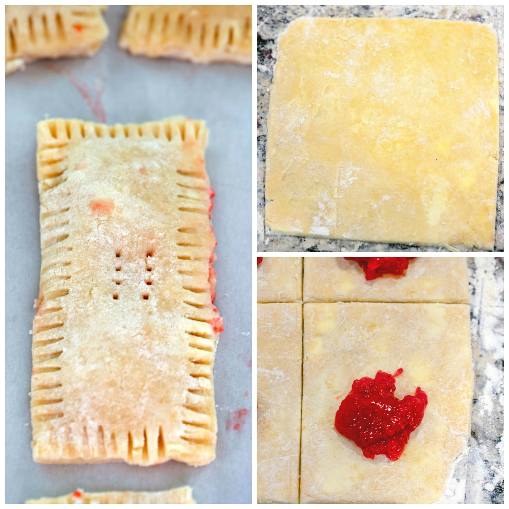 Collage showing strawberry breakfast tart making process, including dough cut into rectangle, rectangle cut into four with strawberry jam on top, and tarts folded over with ridge marks