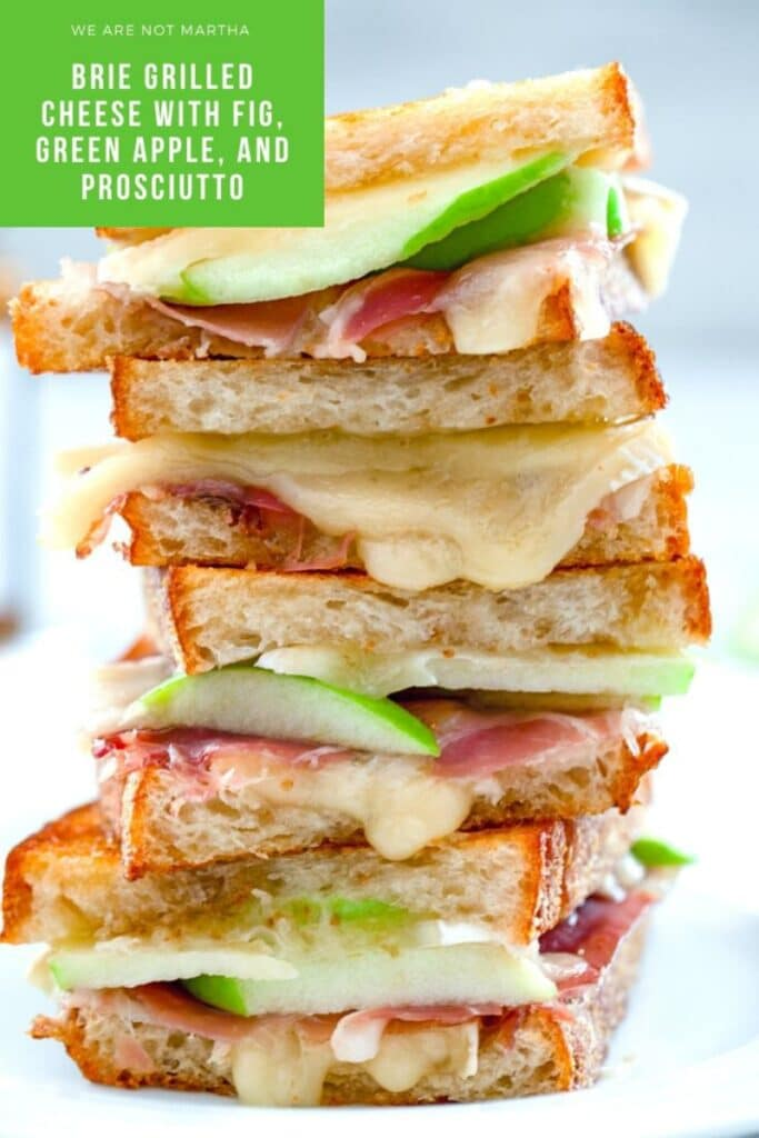 Brie Grilled Cheese with Fig Spread, Green Apple, and Prosciutto is the best grilled cheese you've ever had! | wearenotmartha.com #grilledcheese #briecheese #briegrilledcheese