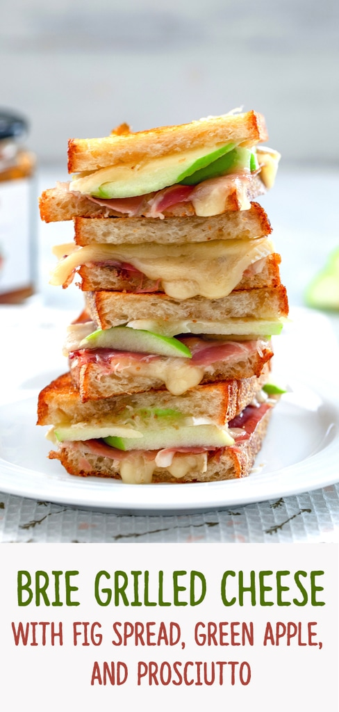 Brie Grilled Cheese with Fig Spread, Green Apple, and Prosciutto -- Grilled cheese is always delicious but when you try this Brie Grilled Cheese made with fig spread, green apple, and prosciutto, you'll suddenly start wanting grilled cheese for dinner every night | wearenotmartha.com #grilledcheese #brie #apple #prosciutto