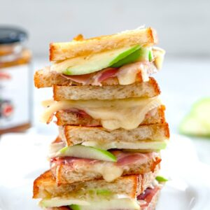 Grilled cheese is always delicious but when you try this Brie Grilled Cheese made with fig spread, green apple, and prosciutto, you'll suddenly start wanting grilled cheese for dinner every night!