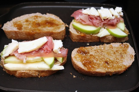 Brie Grilled Cheese with Fig Spread, Green Apple, and Prosciutto - We ...