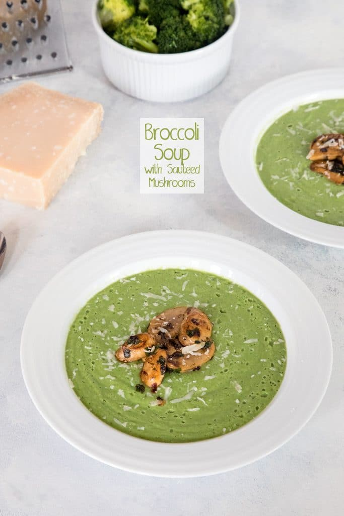 Broccoli Soup with Sauteed Mushrooms -- This healthy soup is packed with flavor and nutrients and made creamy with a little bit of Greek yogurt   wearenotmartha.com