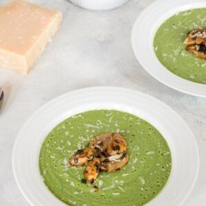 Broccoli Soup with Sauteed Mushrooms -- This healthy soup is packed with flavor and nutrients and made creamy with a little bit of Greek yogurt | wearenotmartha.com