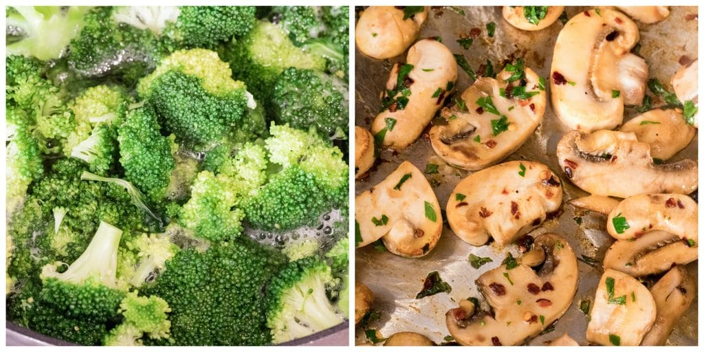 Cooking broccoli and sauteeing mushrooms collage while making broccoli soup