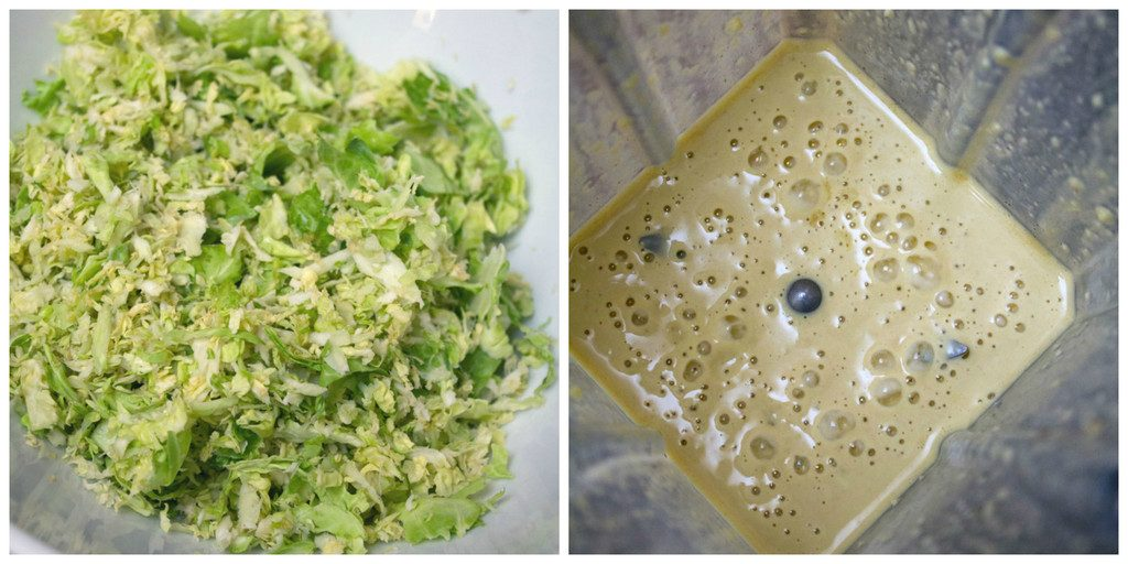 Collage showing shredded brussels sprouts in a bowl and caesar dressing in blender