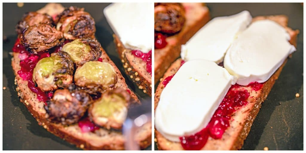 Collage showing brussels sprouts and cranberry relish grilled cheese being cooked on griddle with mozzarella cheese