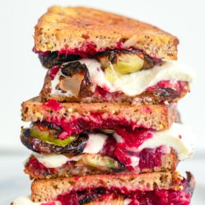 Brussels Sprouts and Cranberry Relish Grilled Cheese -- Brussels sprouts grilled cheese? Yup! This Brussels Sprouts and Cranberry Relish Grilled Cheese is the perfect solution to Thanksgiving leftovers. But it's also incredibly easy to make from scratch for whenever the craving hits | wearenotmartha.com