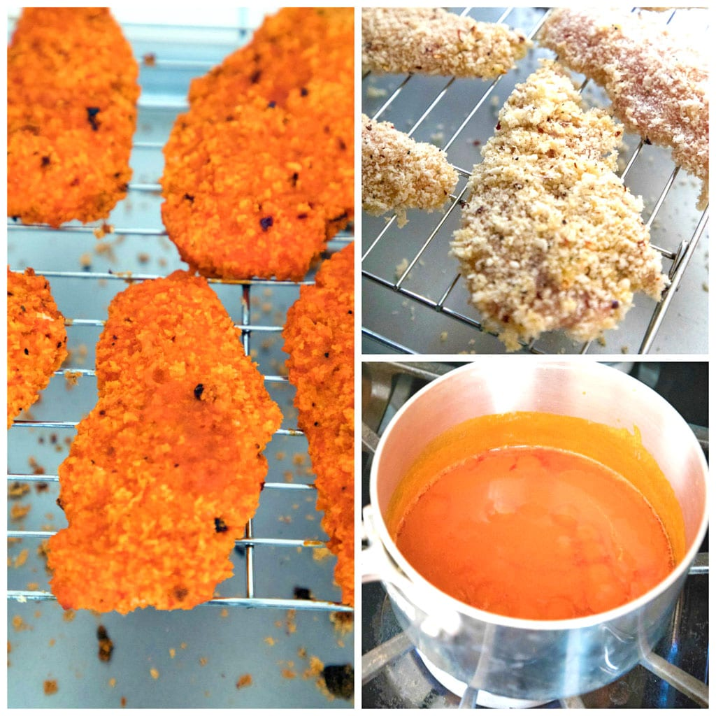 Collage showing process for making baked buffalo chicken, including chicken battered on rack ready for oven, buffalo sauce in saucepan, and chicken battered and baked and dipped in buffalo sauce