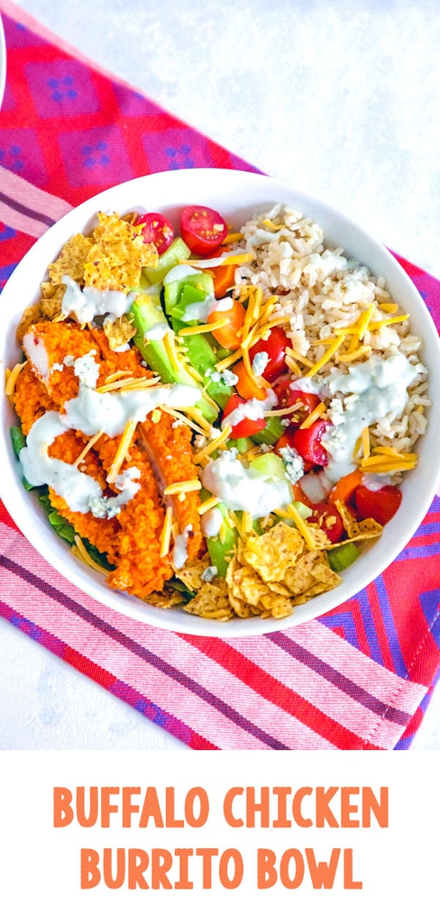 Buffalo Chicken Burrito Bowl -- This Buffalo Chicken Burrito Bowl is the ultimate salad with brown rice, avocado, carrots, celery, tomatoes, blue cheese dressing, and more. If you don't have time to make the whole entrée, you must at least make the buffalo chicken! | wearenotmartha.com #buffalochicken #burritobowl #burritos #buffalo