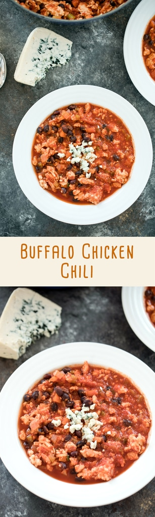 Buffalo Chicken Chili -- This chili is a hearty and flavorful chili that packs the perfect amount of heat. Top with blue cheese and serve during your game day gatherings or on any day that calls for comfort food | wearenotmartha.com