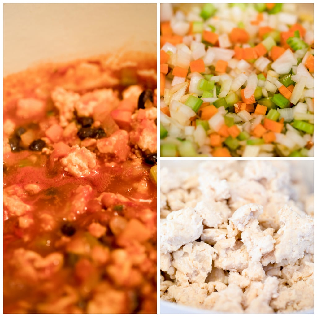 Collage showing the veggies being cooked, ground chicken cooking, and chili simmering
