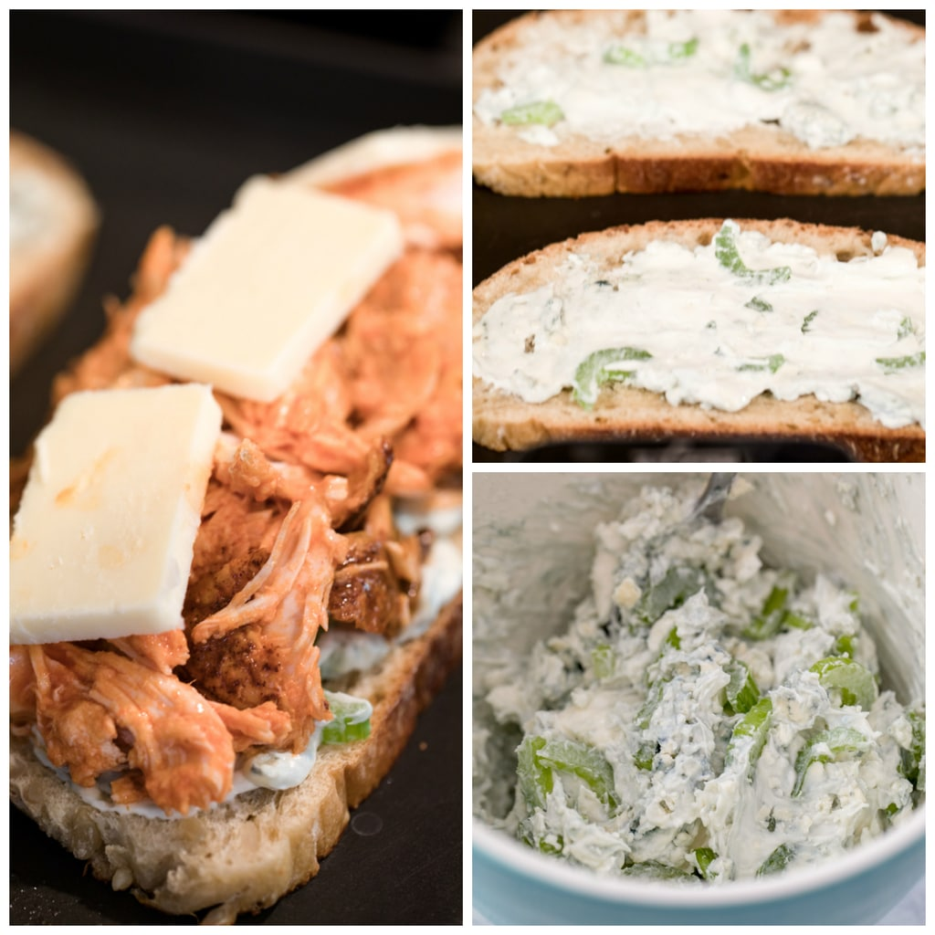 Collage showing process of making buffalo chicken grilled cheese, including cream cheese blue cheese spread being mixed and being spread on bread and bread with spread, chicken, and cheese on griddle