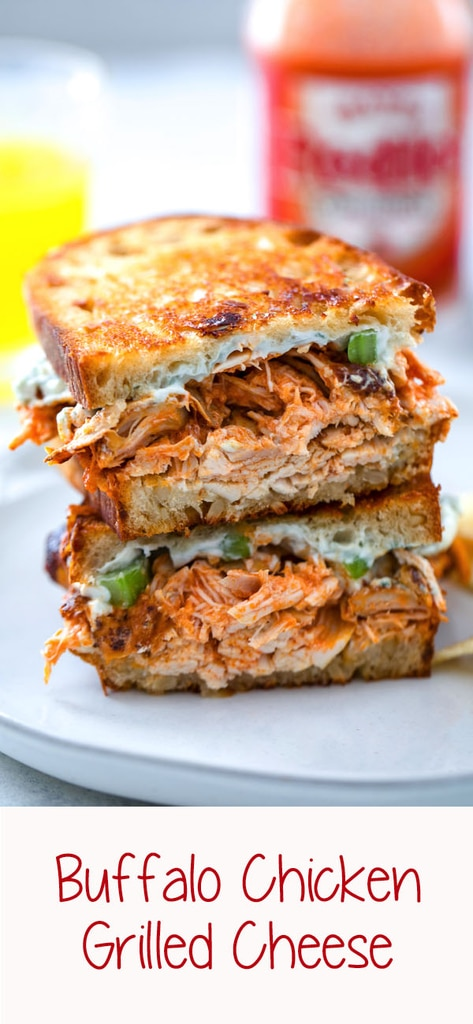 Buffalo Chicken Grilled Cheese -- Two of life's most delicious foods are combined into one perfect sandwich with this Buffalo Chicken Grilled Cheese. With a creamy blue cheese spread and plenty of spicy chicken and sharp cheddar cheese, you'll be craving this sandwich for both lunch and dinner | wearenotmartha.com #grilledcheese #buffalo #buffalochicken #sandwich #lunch