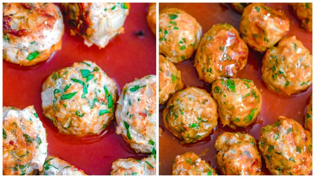 Collage showing buffalo chicken meatballs sitting in hot sauce in pan and buffalo chicken meatballs coated in hot sauce in pan