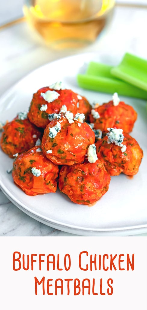 Buffalo Chicken Meatballs -- These Buffalo Chicken Meatballs are a little bit healthier than the typical buffalo wings, but with all the same flavor. They're perfect for football watching parties or any weekday dinner | wearenotmartha.com #meatballs #buffalochilcken