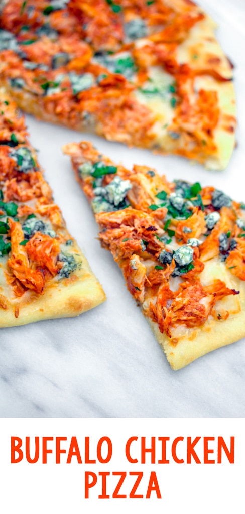 Buffalo Chicken Pizza -- If you love buffalo chicken and can't get enough pizza, you will be obsessed with this Buffalo Chicken Pizza. Make it with a rotisserie chicken for an incredibly easy weeknight dinner | wearenotmartha.com #pizza #buffalochicken #buffalo #spicy