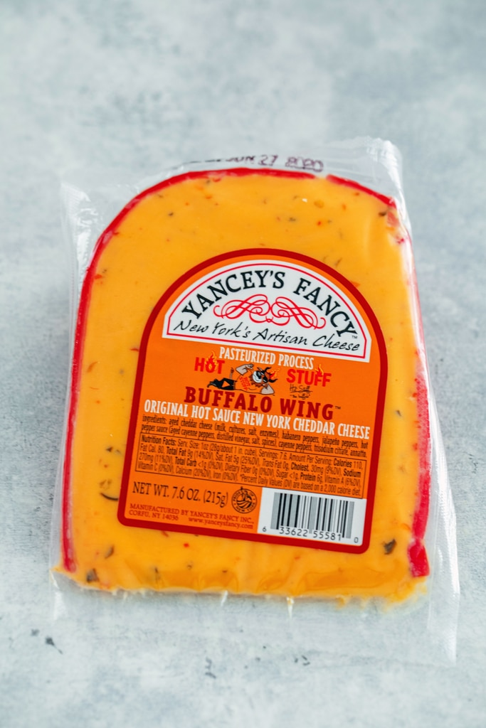 Overhead view of a block of Yancey's Fancy Hot Stuff Buffalo Wing Cheese