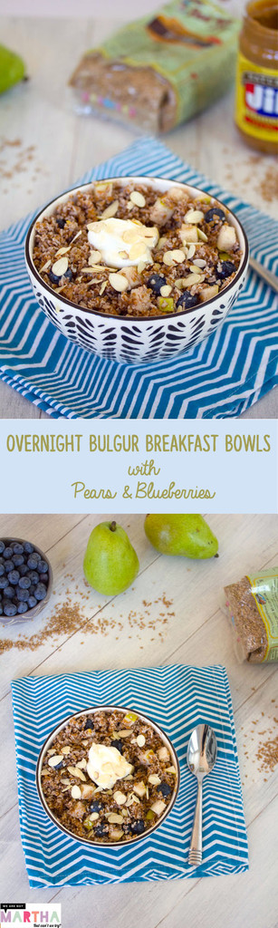 Overnight Bulgur Breakfast Bowls with Pears and Blueberries -- Deliciously satisfying overnight