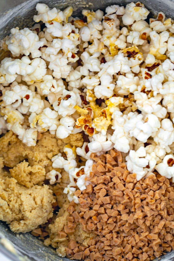 Cookie batter with popcorn and toffee pieces