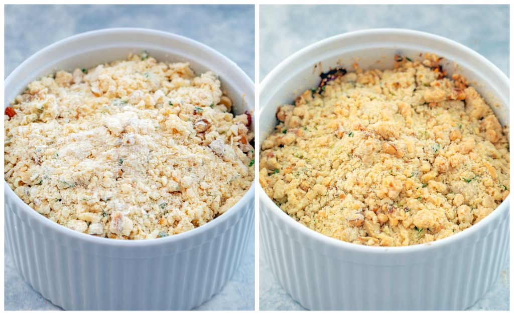 One photo showing veggies and crumb topping in large soufflé dish and another showing butternut squash crumble in soufflé dish right out of the oven and golden on top