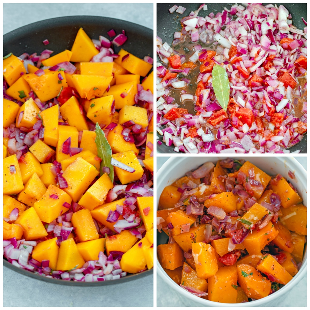 Collage showing process for making butternut squash crumble, including onions, tomato, and bay leaf in skillet; butternut squash added to skillet; and butternut squash mixture in casserole dish