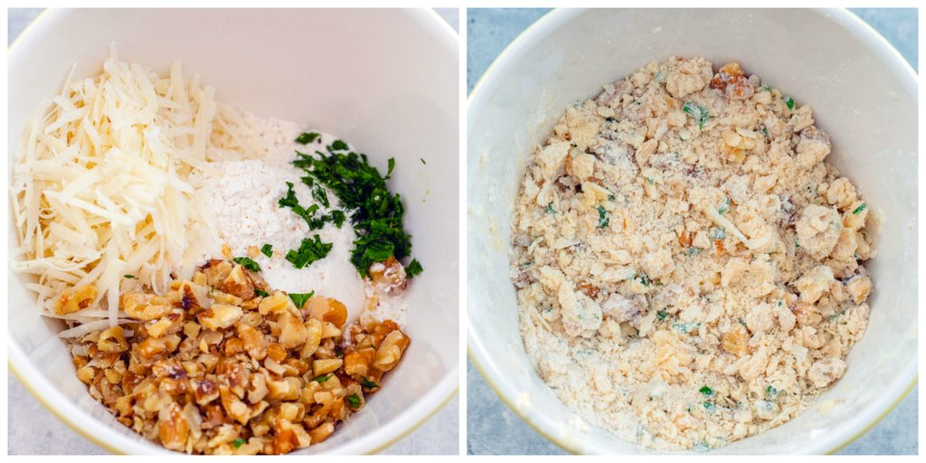 Collage showing process for making butternut squash crumble topping, including flour, parmesan, walnuts, and parsley in a bowl and all ingredients mixed together