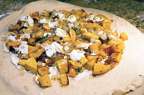 Butternut Squash, Onion, and Goat Cheese Galette