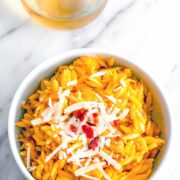 This Butternut Squash Orzo it packed with creamy butternut squash sauce, crumbled bacon, and parmesan cheese. It's incredibly easy to make and can be served as either an entree or a side!
