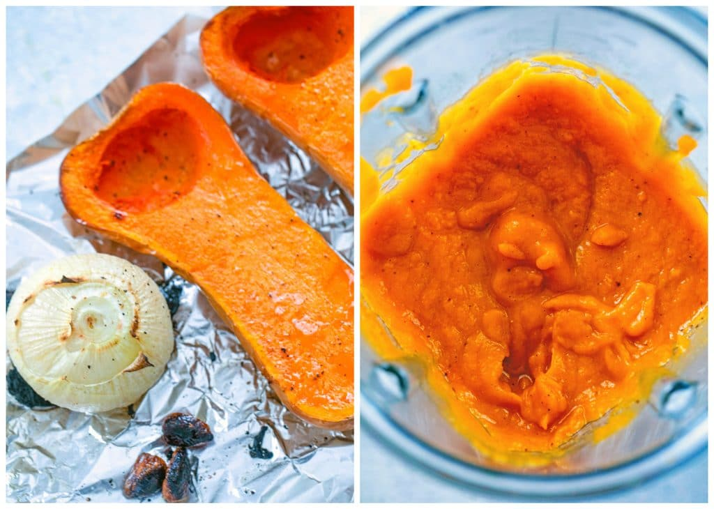 Collage showing process for making butternut squash sauce, including squash halves, onion, and garlic roasted on baking sheet and sauce just pureed in blender