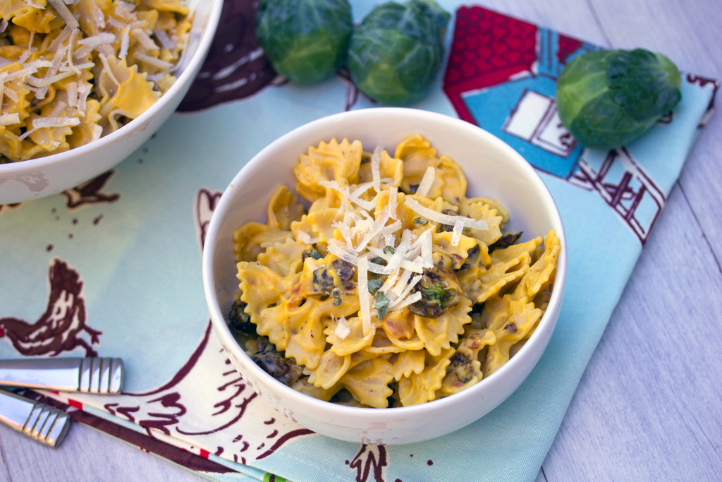 Butternut Squash Pasta with Fried Brussels Sprouts and Pancetta 2