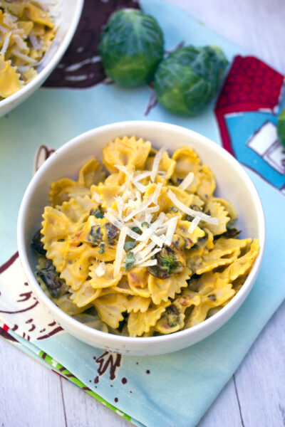 Butternut Squash Pasta with Fried Brussels Sprouts and Pancetta