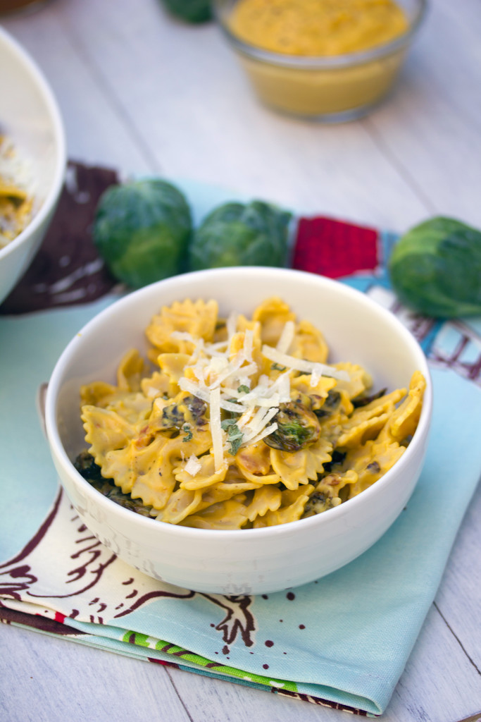 Butternut Squash Pasta with Fried Brussels Sprouts and Pancetta 4