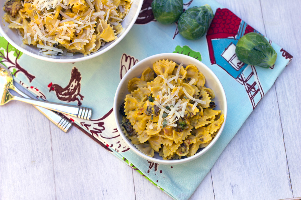 Butternut Squash Pasta with Fried Brussels Sprouts and Pancetta 7