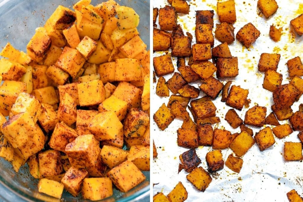 Collage showing butternut squash with olive oil and spiced in bowl and butternut squash on baking sheet just out of the oven