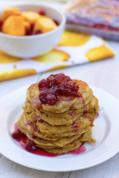 Butternut Squash Whole Wheat Pancakes with Cranberry Maple Syrup 6-1