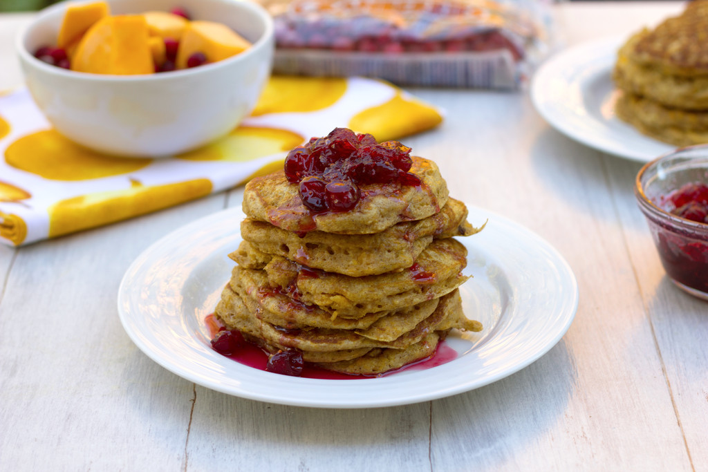 Butternut Squash Whole Wheat Pancakes with Cranberry Maple Syrup 8-1