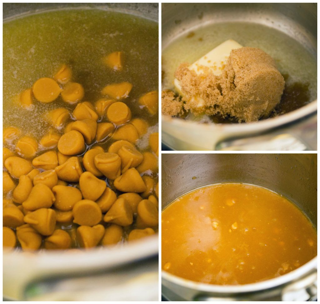 Collage showing process for making butterscotch icing, including butter and brown sugar in saucepan, butterscotch chips added to mixture, and butterscotch icing smooth in saucepan