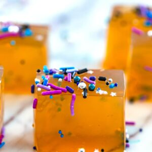 Butterscotch Jello Shots -- Jello shots just got a whole lot classier! These Butterscotch Jello Shots are the a delicious adult jello shot perfect for any party in need of a little extra fun | wearenotmartha.com