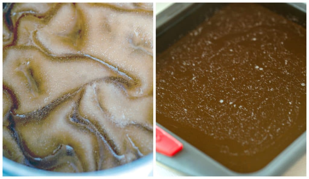Collage showing process for making butterscotch jello shots, including gelatin sprinkled over cream soda in saucepan and jello shot mixture poured into baking pan