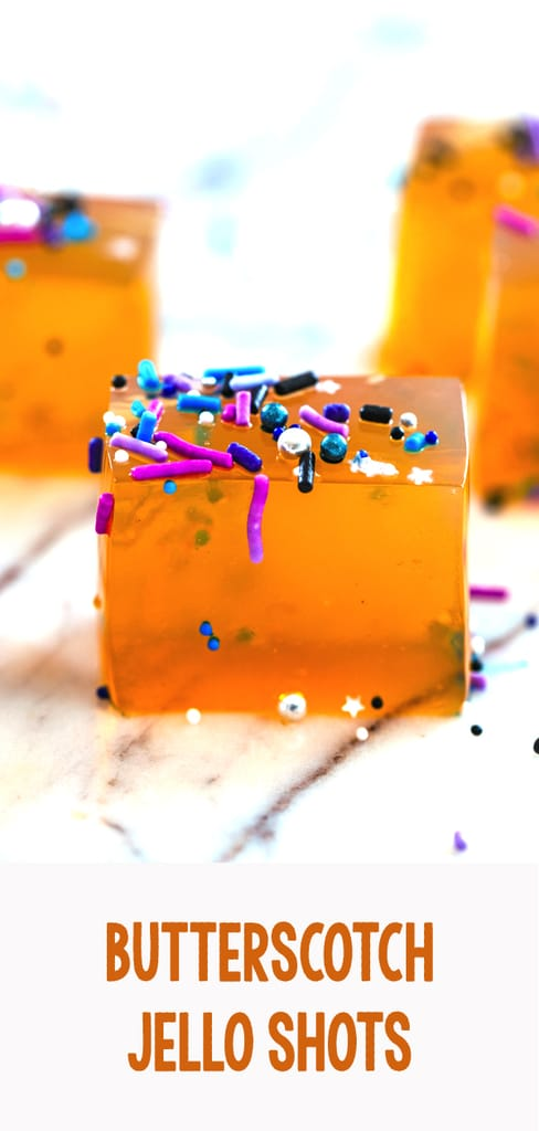 Butterscotch Jello Shots -- Jello shots just got a whole lot classier! These Butterscotch Jello Shots are a delicious adult jello shot perfect for any party in need of a little extra fun | wearenotmartha.com #jelloshots #butterscotch #party #newyears