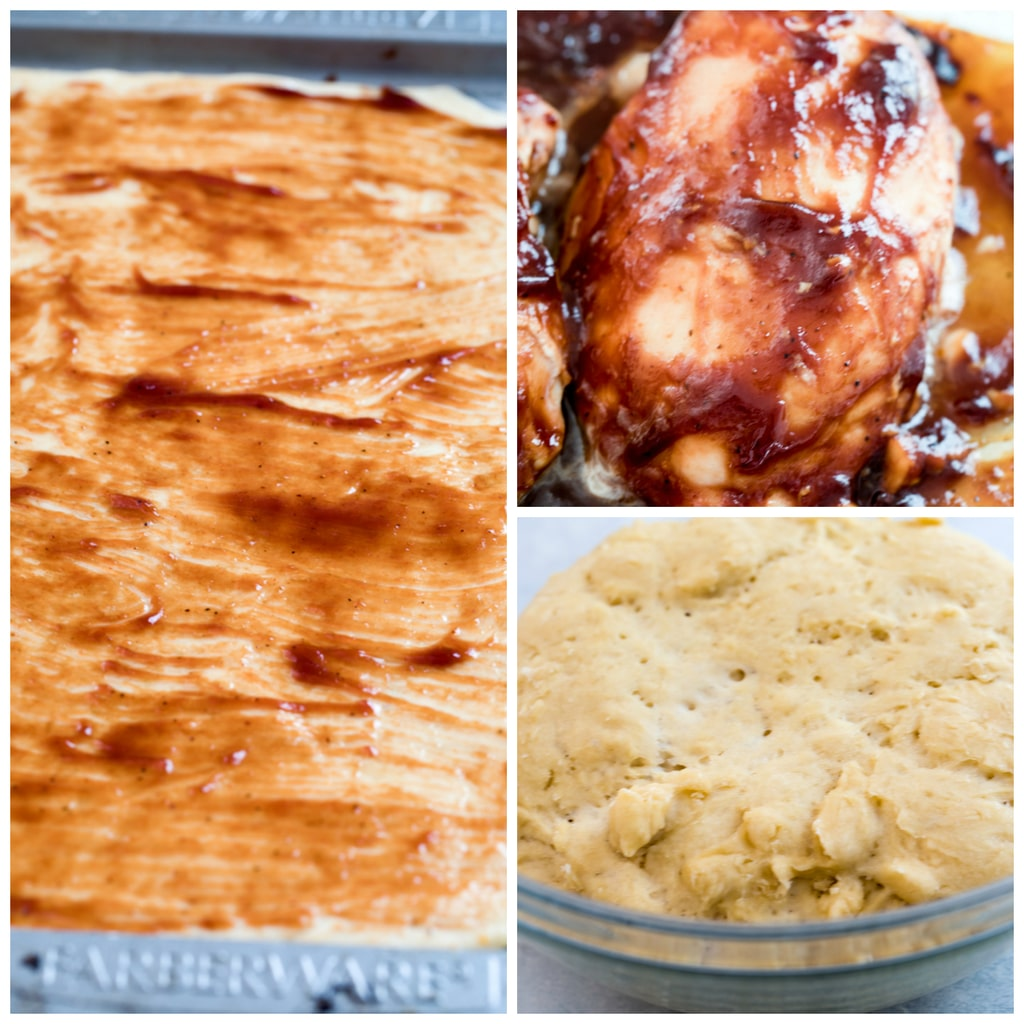 Collage showing the BBQ chicken pizza making process, including dough rising in a bowl, BBQ sauce brushed on rolled out dough, and baked BBQ chicken