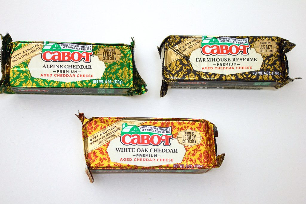 Overhead view of three types of Cabot Cheese