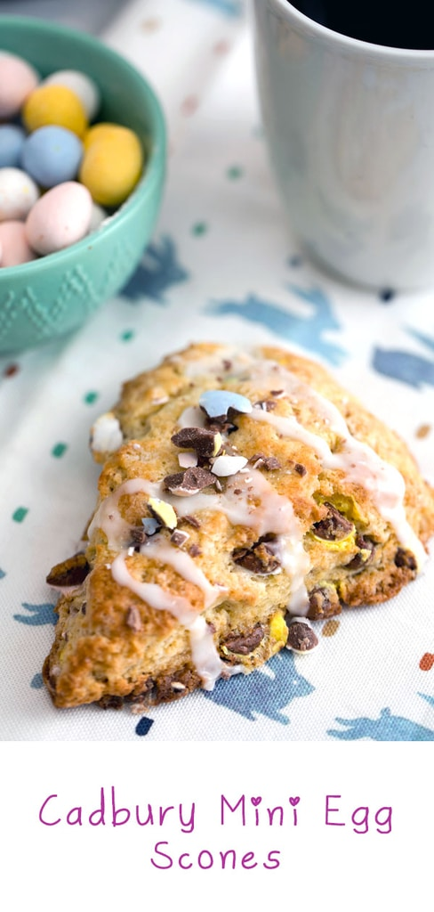 Cadbury Mini Egg Scones -- Instead of mindlessly eating an entire bag of Cadbury Mini Eggs, put them to good use and make Cadbury Mini Egg Scones! These Easter scones make the perfect addition to your Easter brunch spread or for a sweet seasonal treat | wearenotmartha.com #easter #cadburyeggs #minieggs #scones #candy
