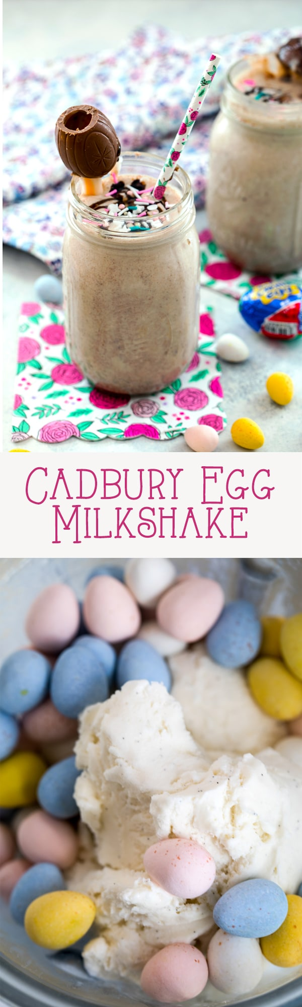 Cadbury Egg Milkshake -- The ultimate Easter milkshake, this Cadbury Egg Milkshake combines ice cream with Cadbury Mini Eggs, caramel, and chocolate sauce and is topped with a Cadbury Creme Egg garnish | wearenotmartha.com