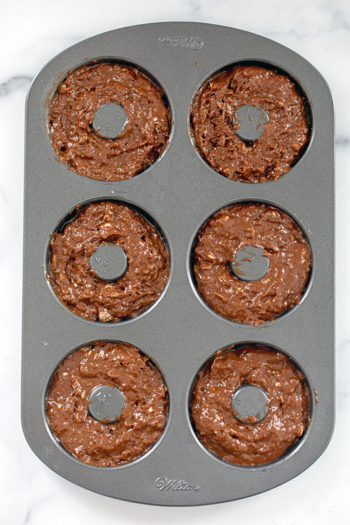 Chocolate batter in donut pan