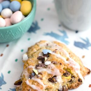 Cadbury Mini Egg Scones -- Instead of mindlessly eating an entire bag of Cadbury Mini Eggs, put them to good use and make Cadbury Mini Egg Scones! These scones make the perfect addition to your Easter brunch spread or just for a seasonal treat | wearenotmartha.com