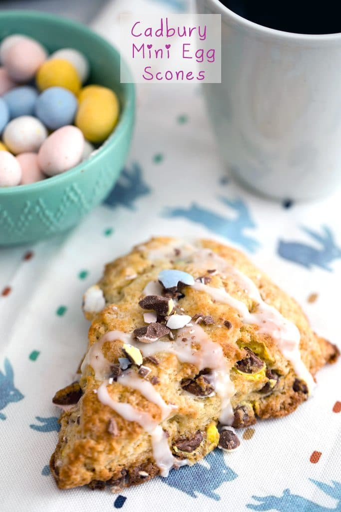 Cadbury Mini Egg Scones -- Instead of mindlessly eating an entire bag of Cadbury Mini Eggs, put them to good use and make Cadbury Mini Egg Scones! These scones make the perfect addition to your Easter brunch spread or for a sweet seasonal treat | wearenotmartha.com