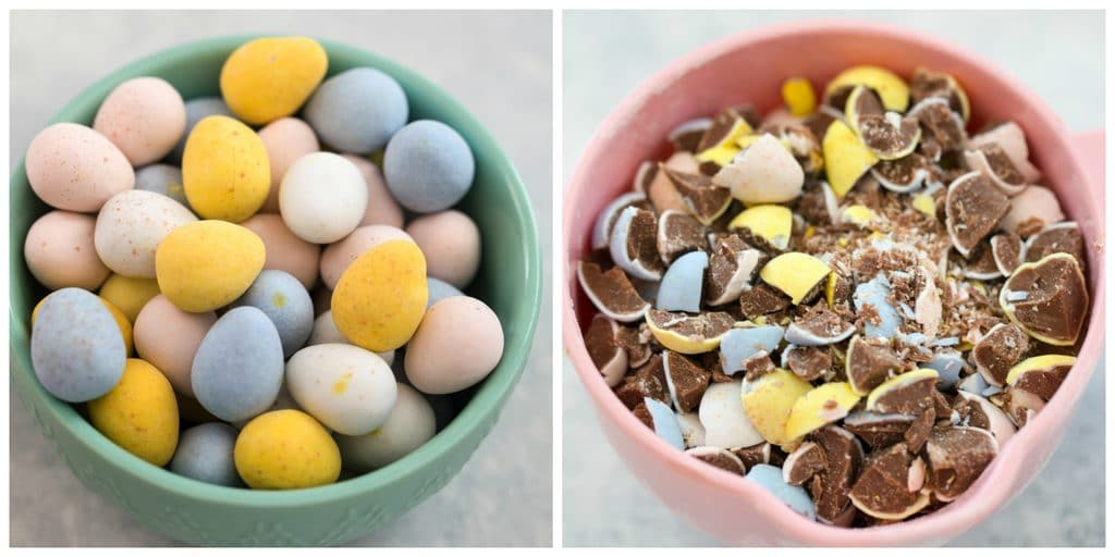 Collage showing bowl of Cadbury Mini Eggs whole and Cadbury Mini Eggs Crushed