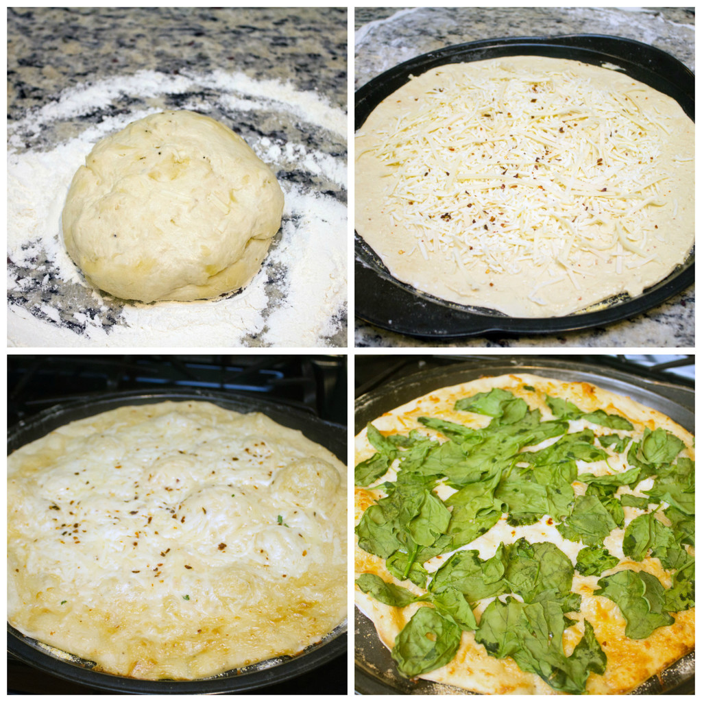 Collage showing process for making Caesar salad pizza, including parmesan dough ball in flour, dough rolled out on pizza pan with cheese, dough baked with cheese, and dough with spinach baked on it