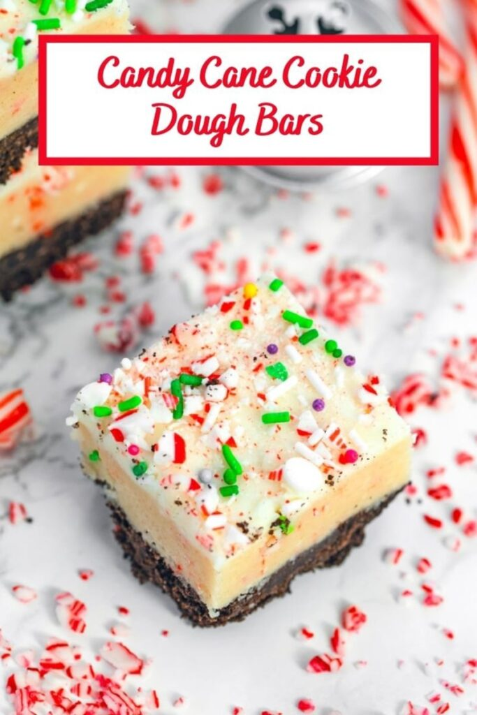 Candy Cane Cookie Dough Bars make the perfect addition to your holiday cookie platters! | wearenotmartha.com #cookiedough #ediblecookiedough #cookiebars #christmascookies #peppermintdesserts